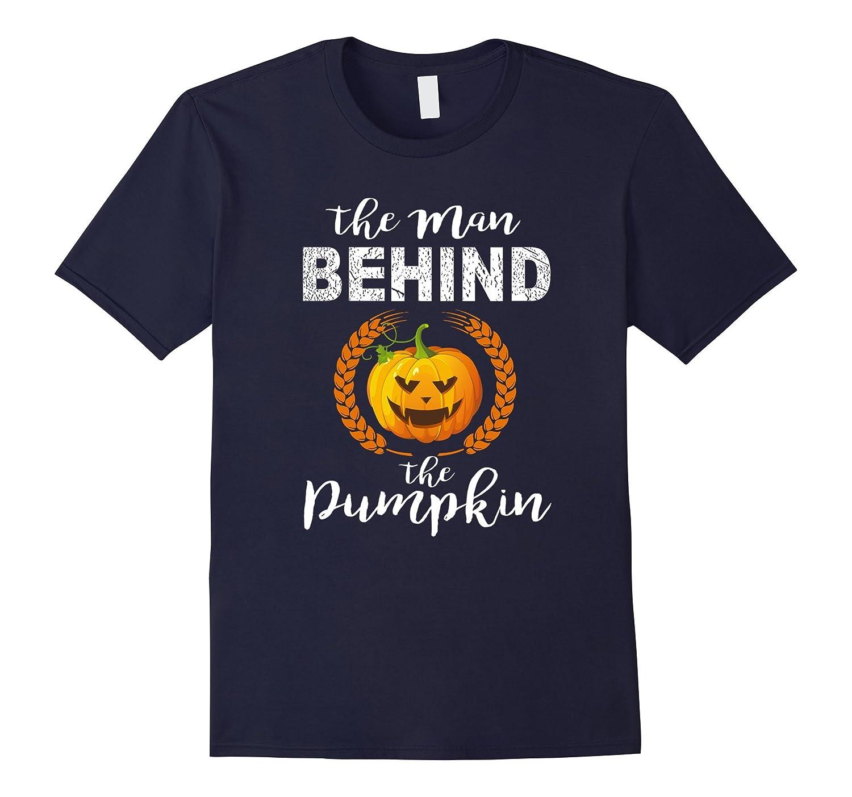 Mens The Man Behind The Pumpkin tshirt Halloween Couple shirt-FL