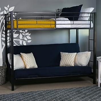 Amazon Com Walker Edison Twin Over Futon Metal Bunk Bed Black
