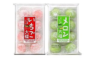 Japanese Mochi Fruits Daifuku (Rice Cake) CHOICE OF: Strawberry, Melon, Green Tea, Orange Flavors. (Strawberry+Melon)