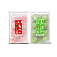 Japanese Mochi Fruits Daifuku (Rice Cake) CHOICE OF: Strawberry, Melon, Green Tea, Orange Flavors. (Strawberry+Melon)