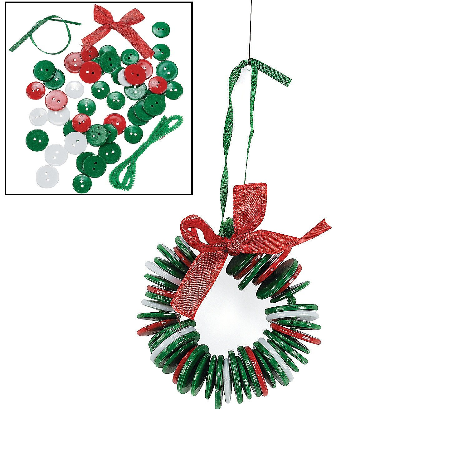 Amazon.com: Button Wreath Ornament Craft Kit for Kids: Arts, Crafts ...