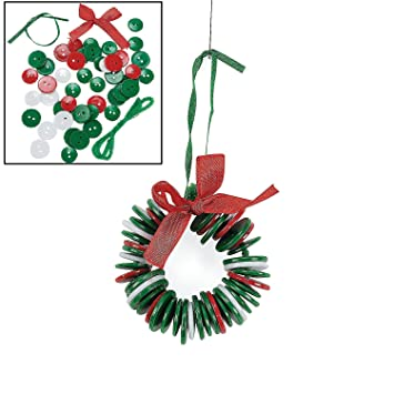 amazoncom button wreath ornament craft kit for kids arts crafts sewing