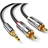 Cinch Kabel, TechRise 1.5m Stereo Audio Klinke 3,5mm zu 2x Cinch Y Kabel, Metall-Stecker / vergoldet, AUX Eingänge Audio 3,5mm Klinken Stecker zu 2x Cinch / RCA Stecker, Metall-Stecker vergoldet / doppelte Schirmung