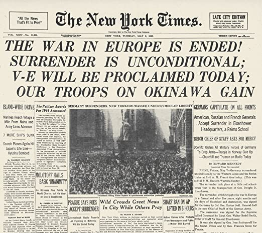 Wwii: V-E Day Frontpage/Nthe Front Page of The New York Times 8 ...