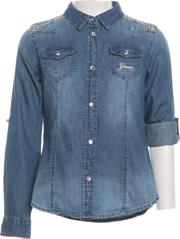 Guess - Camisa vaquera de manga larga para niña, color azul denim 10 años: Amazon.es: Ropa y accesorios