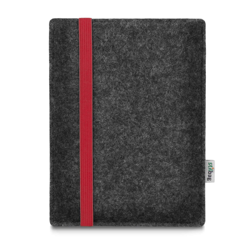 Stilbag maßgeschneiderte eReader-Hülle LEON | Farbe: anthrazit-rot | eBook Reader Tasche aus Filz | e-Reader Schutzhülle | Tasche Made in Germany
