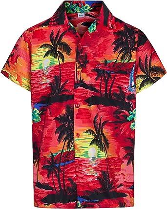 Redstar Fancy Dress - Camisa Hawaiana de Manga Corta - para Hombre - Aloha Verano - Todas Las Tallas - Rojo - S: Amazon.es: Ropa y accesorios