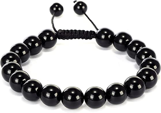 gemstone bracelet with earrings Black and white gemstone beads Plus size bracelet of Jade and black onyx