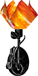 product image for Jezebel Signature BRSC-B-MA-FP12-ZIN Flame Style Black Branch Sconce with Magnolia Leaves, Zinnia