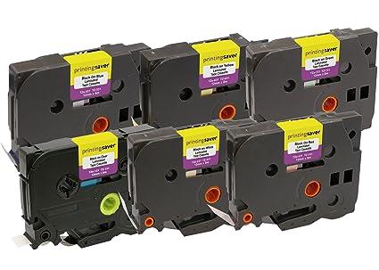 Pack de 6 Casetes TZe-131 231 431 531 631 731 12mm x 8m Cintas de