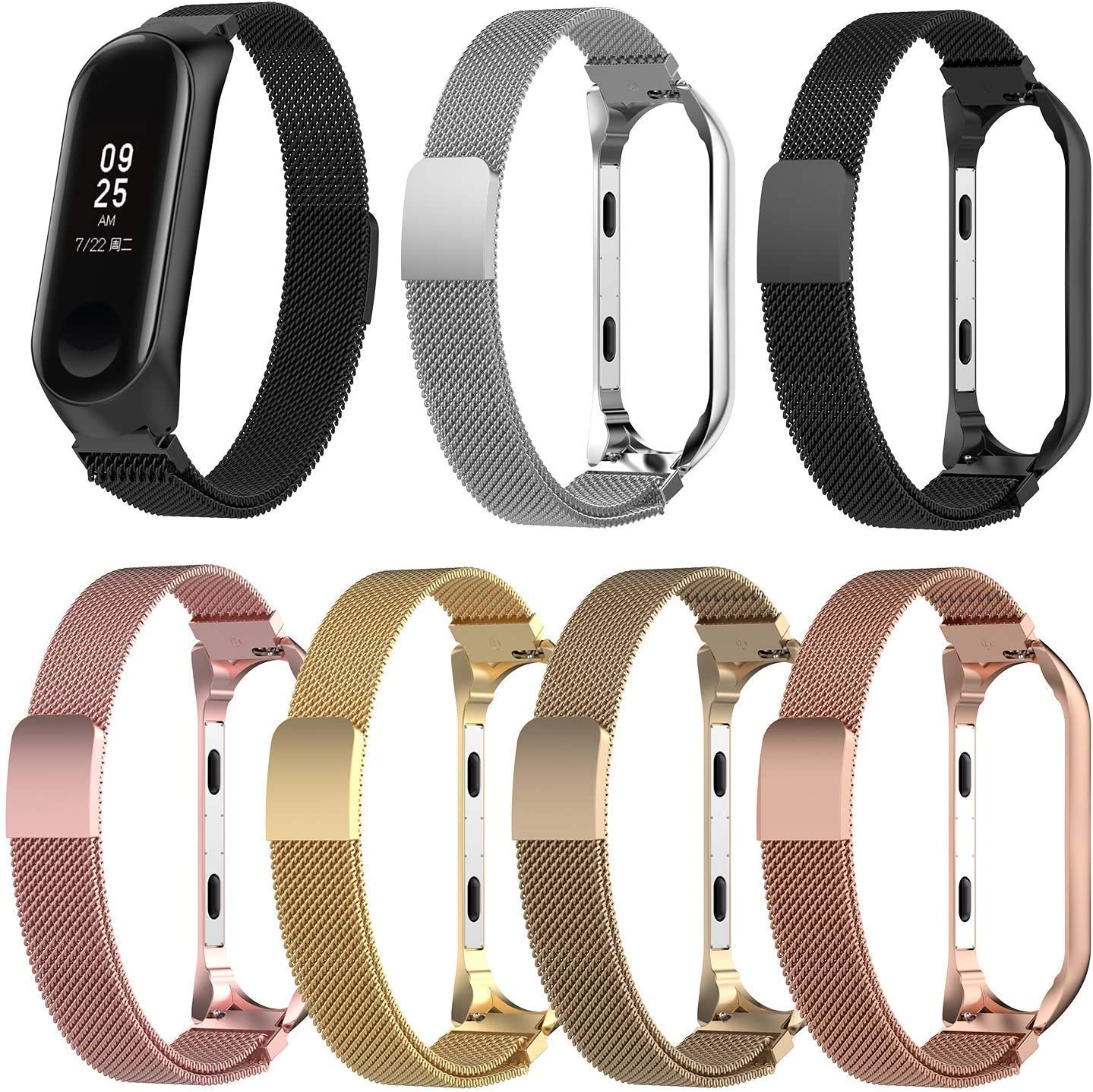 OUYAWEI Favorite for Replacement Strap for Xiaomi Bracelet 4 Metal Strap Wrist Strap Stainless Steel Replacement Strap Black