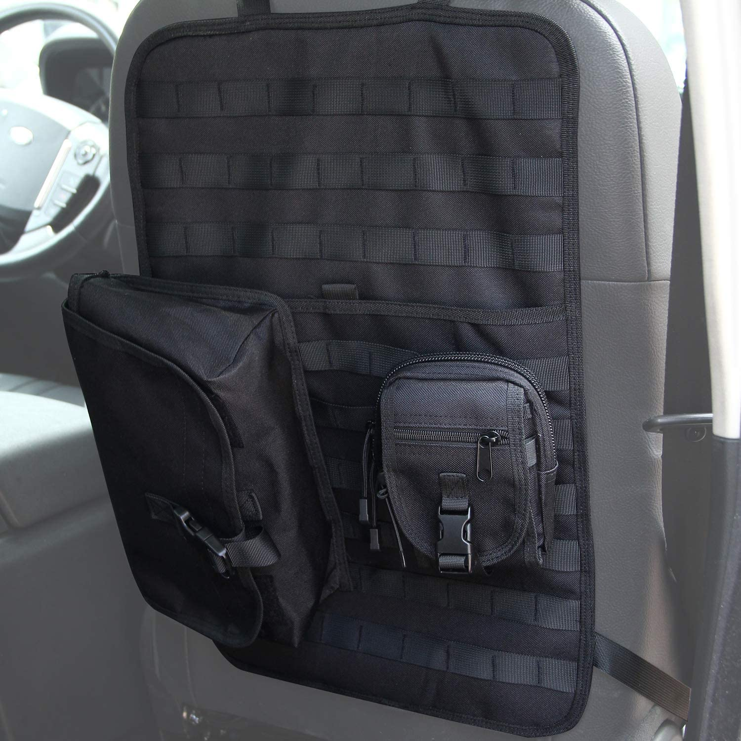 Black SUNPIE Universal Tactical MOLLE Seat Cover Organizer with Storage Bag Pockets Pouch for Car Truck Jeep
