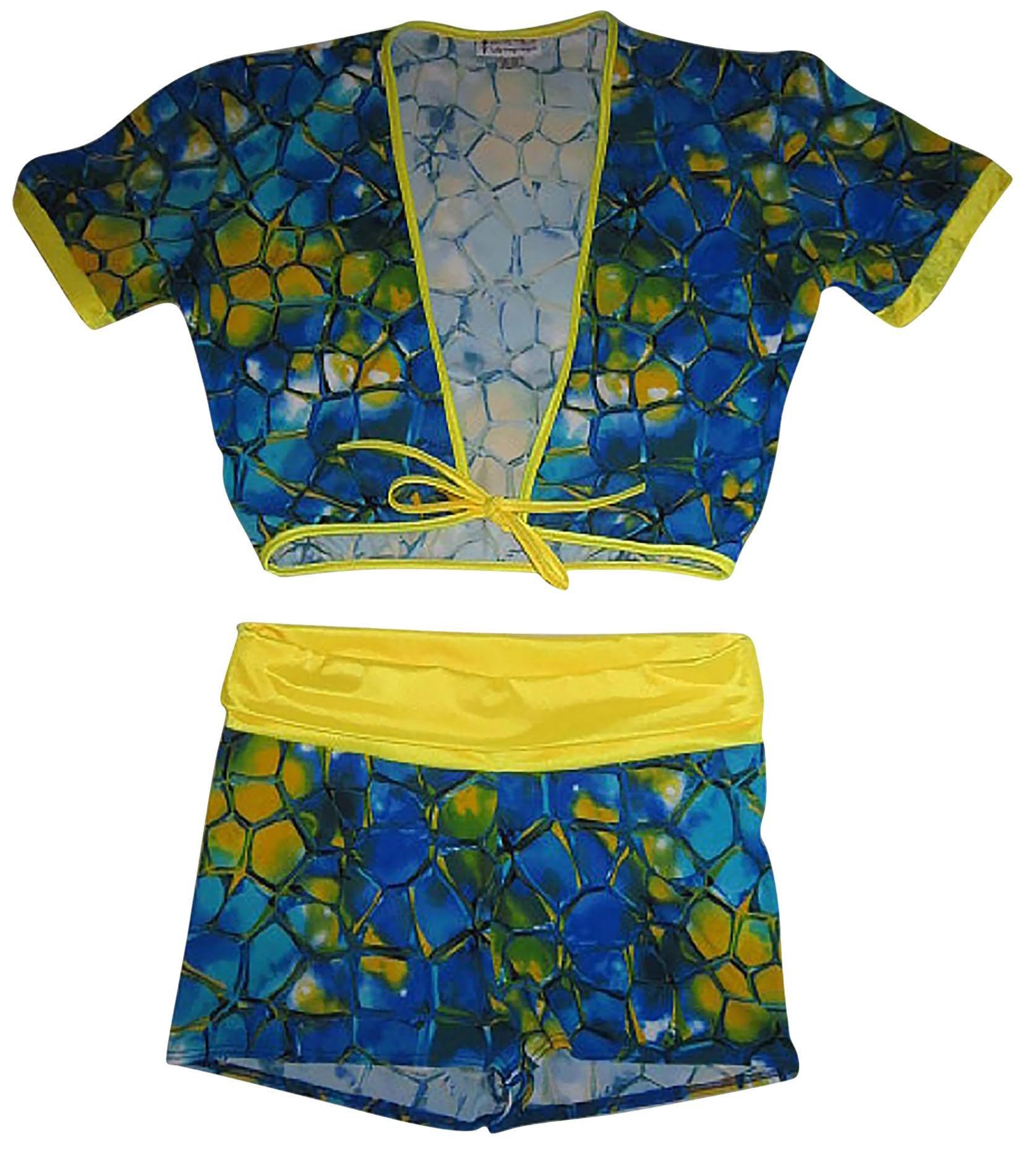 Plus Size Roll over waist short w Tie front Crop Top (12X, Blue Tortoise)