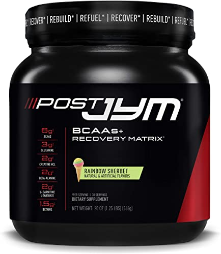 Post JYM Active Matrix – Post-Workout with BCAA s, Glutamine, Creatine HCL, Beta-Alanine, and More JYM Supplement Science Rainbow Sherbert Flavor, 30 Servings, 20 oz