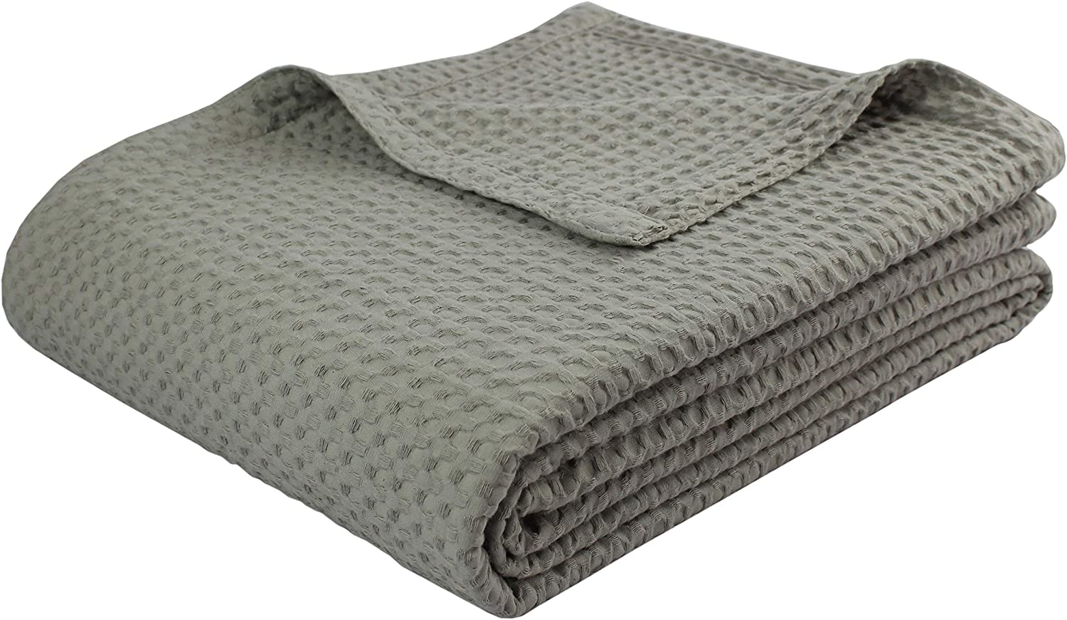 COTTON CRAFT - 100% Super Soft Premium Cotton Waffle Weave Thermal Blanket - Full/Queen Grey