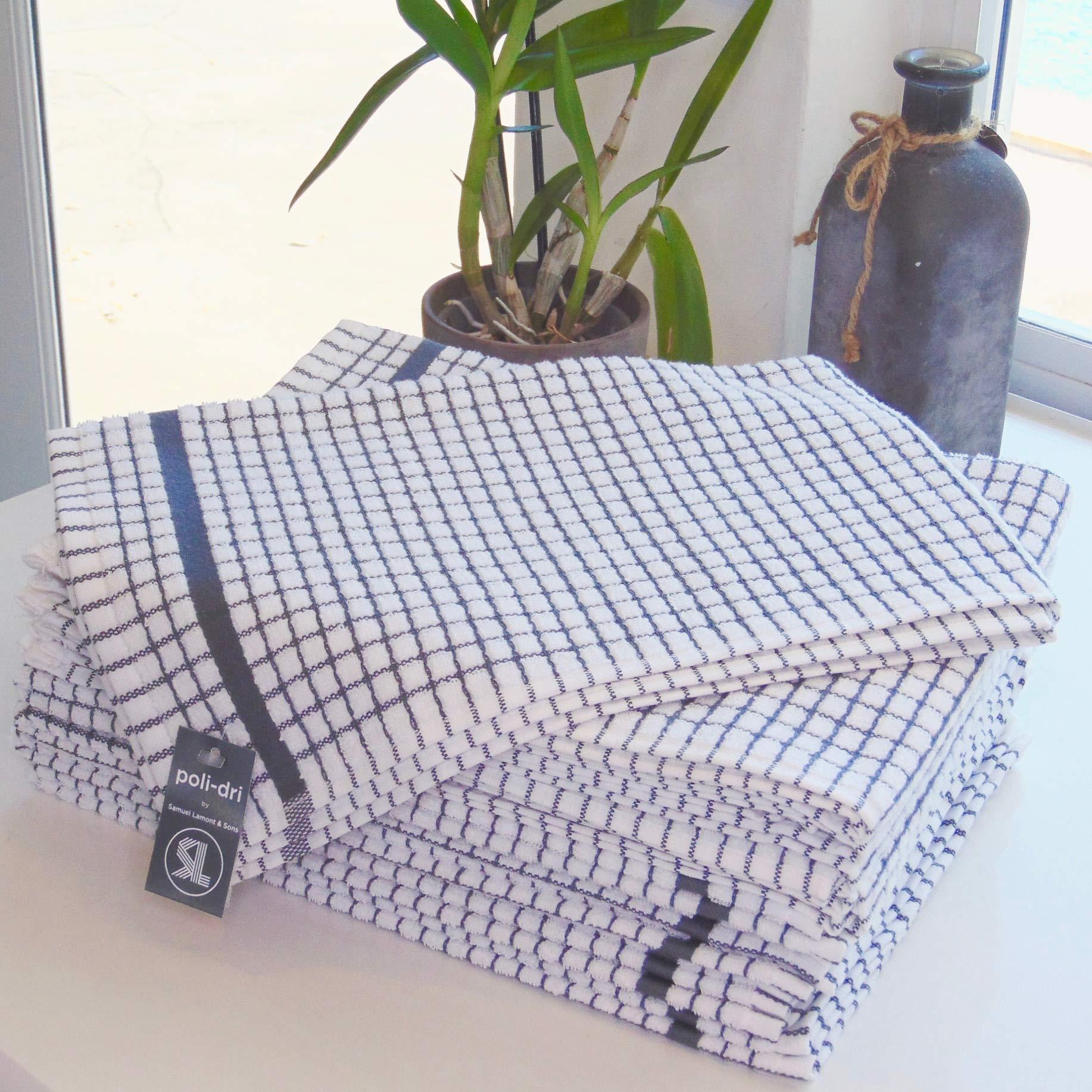poli-dri New Samuel Lamont Authentic Kitchen Tea Towels (Charcoal, 12 Pack) by poli-dri