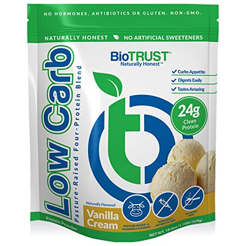 BioTrust Low Carb Natural and Delicious Protein Powder Whey and Casein Blend from Grass-Fed Hormone Free Cows, Non GMO, Soy Free, Gluten Free, Hormone and Antibiotic Free, Vanilla 14 Servings