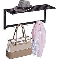 Relaxdays Wandgarderobe met plank, kapstok 5 haken, hal & badkamer, modern, metaal, HBT 28 x 65 x 25 cm, zwart, 1 stuk