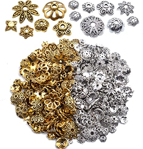 100pcs DIY Flower Beads Cap Spacers Gold Color Jewerly For Necklace Earrings