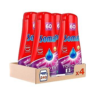 Somat Todo en 1 Gel Lavavajillas 60 Dosis - Paquete de 4, Total ...