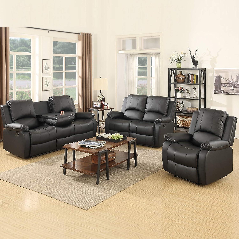 Pleasant Mecor Reclining Sofa Sets Bonded Leather Sofa Recliner 3 Pc Motion Sofa Chair Living Room Furniture 1 Seat 2 Seat 3 Seat Black Customarchery Wood Chair Design Ideas Customarcherynet