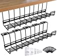 Spacrea Under Desk Cable Management Tray, Metal Wire Cable Tray for Office and Home, 2 Pack Standing Desk Tray with 15 Cable Ties and 5 Cable Clips, Black Cord Basket 17''