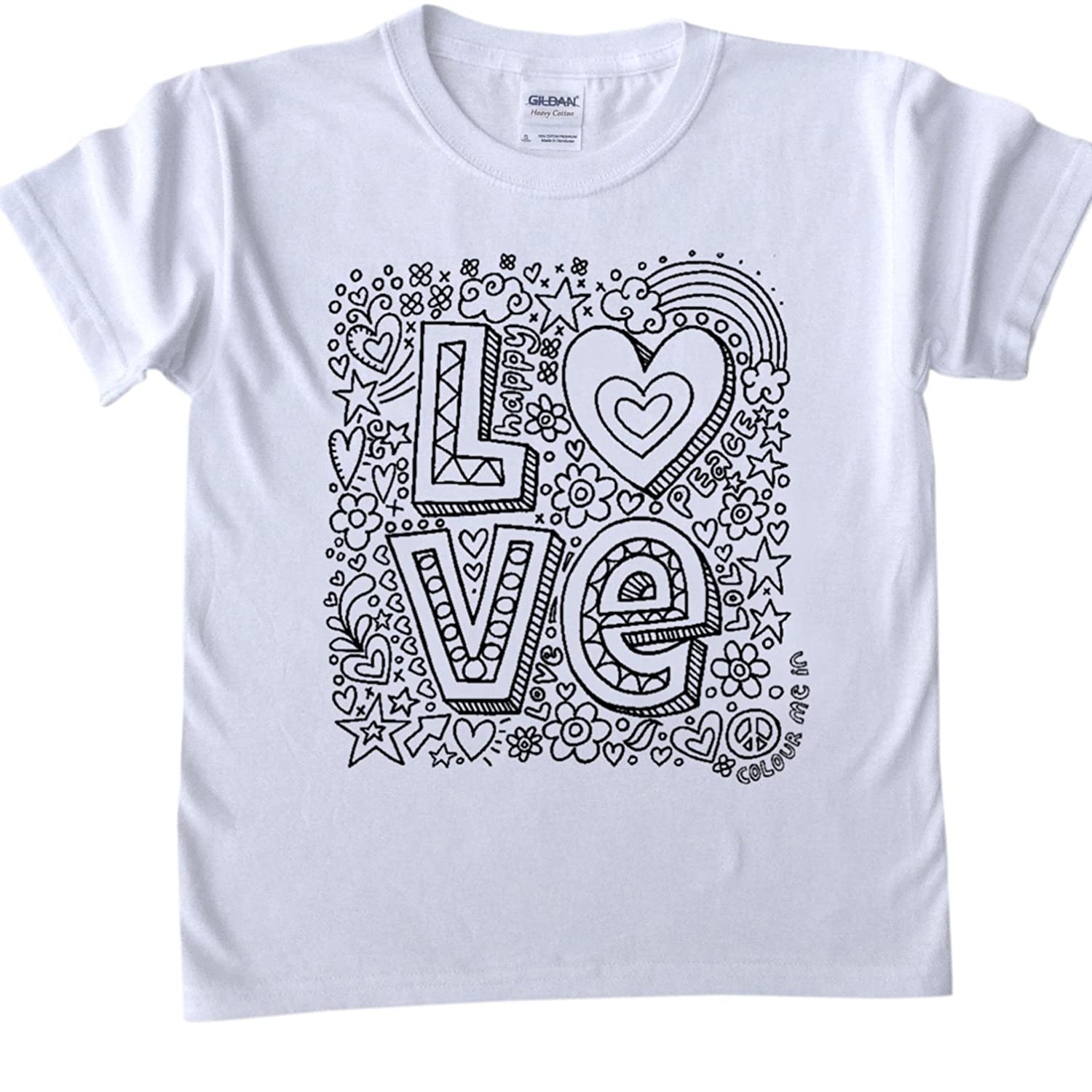 Design t shirt love - T Shirts For Kids To Colour In Printed Outline Kids Craft Love Word Design Size Age 9 11 Amazon Co Uk Kitchen Home