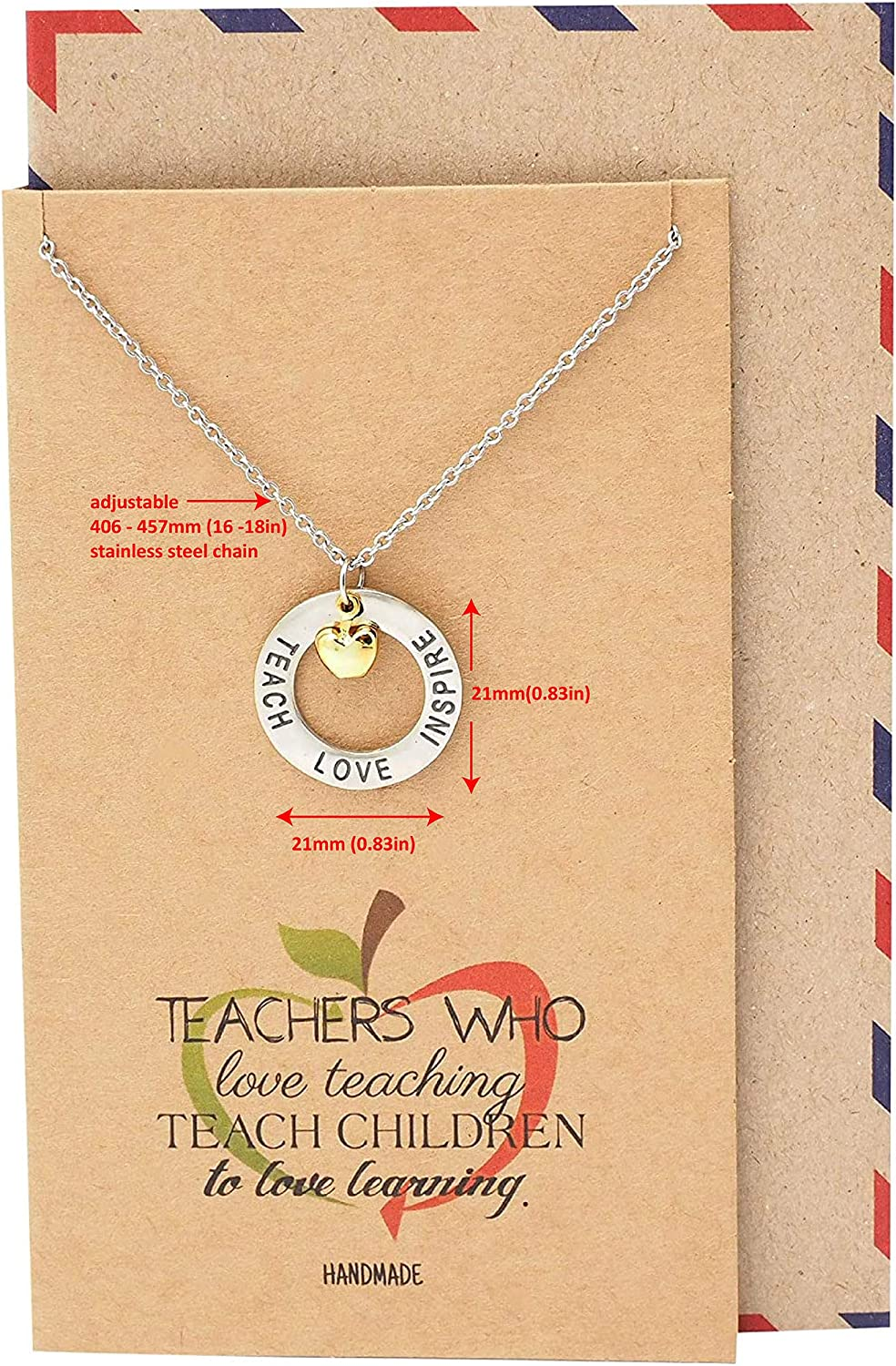 Option of 45 colours Apple Cord Necklace Adjustable Choker or Choice of length Handmade in the UK Silver Apple Necklace Teacher Gift