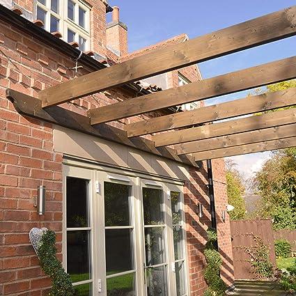 De madera jardín estructura Lean a Pergola 3 m x 3 m: Amazon.es ...