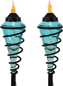 Sunnydaze Blue Glass Torch with Metal Swirl, Outdoor Patio and Lawn Citronella Torch, 25- to 66-Inch Adjustable Height, Set of 2