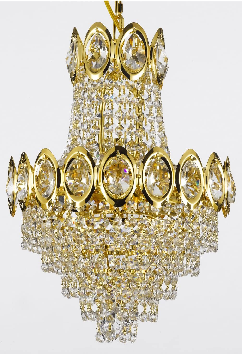French Empire Crystal Chandelier Chandeliers Lighting, H17 X Wd12, 4 Lights,