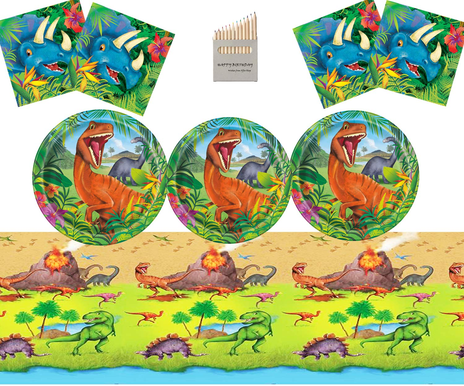 Dinosaur Party Supplies Set Dinosaur Birthday Party Decoration Kit For 16- Dino Plate Napkins Table Cover