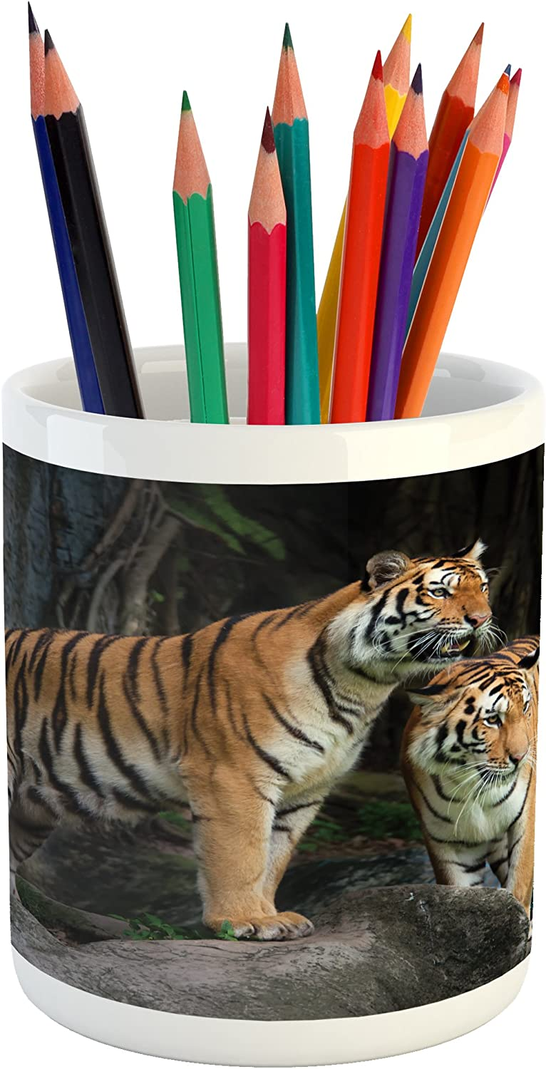 """Ambesonne Animal Pencil Pen Holder, Tiger Couple in The Jungle on Big Rocks Image Wild Cats in Nature Image Print, Ceramic Pencil Pen Holder for Desk Office Accessory, 3.6"""" X 3.2"""", Ginger Grey"""