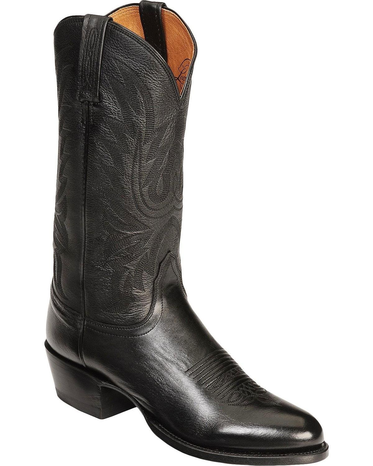 Lucchese Bootmaker Men's Carso-blk Lonestar Calf Cowboy Riding Boot, Black, 13 D US