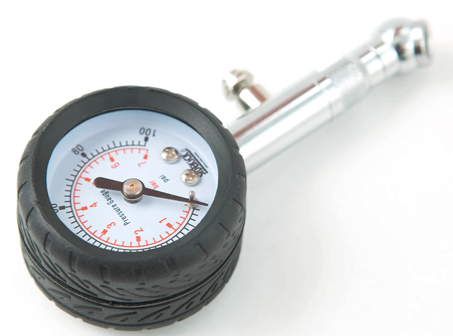 Sidekick Tire Pressure Gauge - Dual PSI and Bar - Air Bleed and Swivel Chuck Included