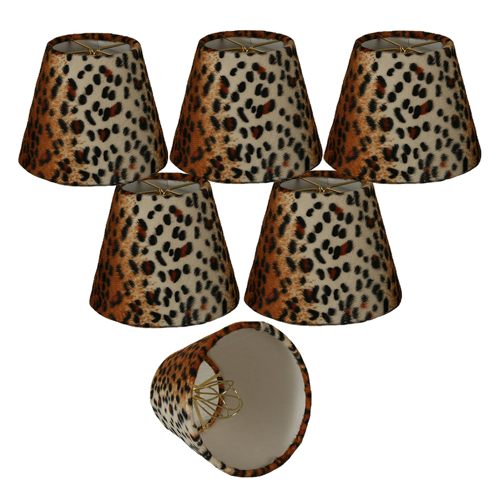 Royal Designs 5'' Black & Brown Small Leopard Print Chandelier Lamp Shade, Set of 6, 3 x 5 x 4.5 (CS-958-5-6) by Royal Designs, Inc (Image #1)