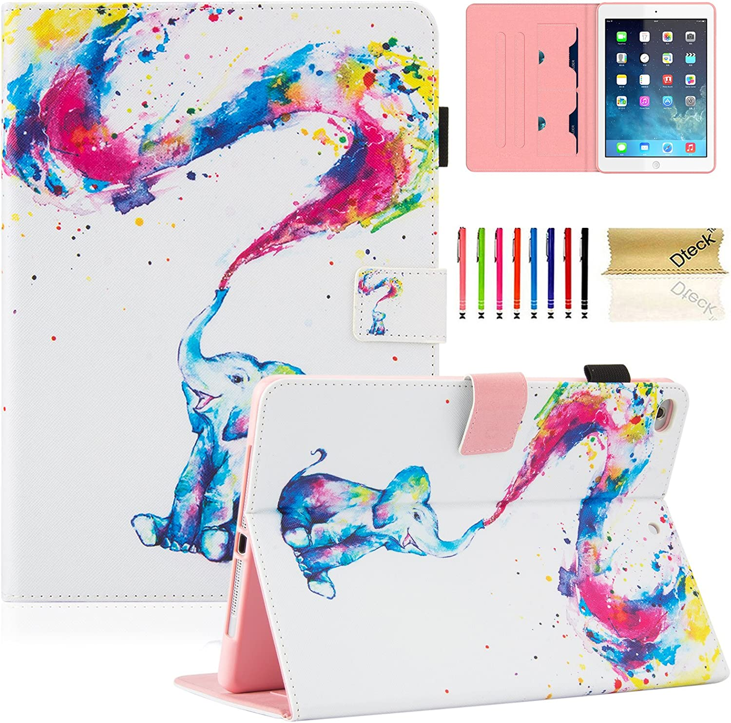 iPad Air Case, iPad Air 2 Case, iPad 6th/5th Gen Case, Dteck iPad Case 2017/2018 PU Leather Folio Stand Case, Auto Wake/Sleep Magnetic Protective Cover for iPad 9.7 2018/2017, Elephant Rainbow