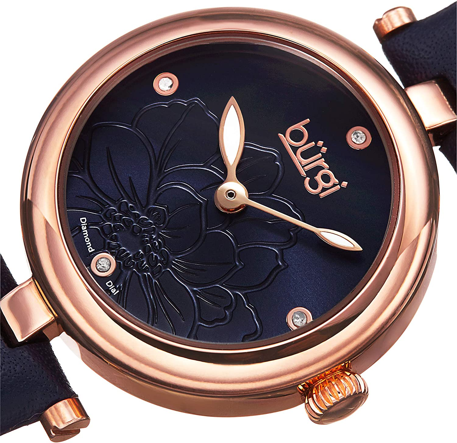 Burgi Diamond Accented Flower Dial Watch - 4 Diamond Hour Markers On Genuine Leather Strap - BUR128 Gold & Blue