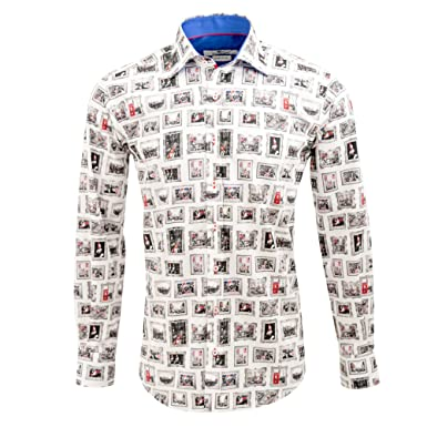c90fabcc60d Claudio Lugli Royal Wedding Print Luxury Cotton Long Sleeve Casual Men s  Shirt CP6363 Medium White