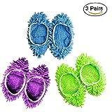 6 PCS 3 pares plumero Fregona Zapatillas Zapatos Cubierta, Multi Función Chenille Fibra Lavable Polvo Fregona Zapatillas Piso Limpieza Zapatos para Baño, Oficina, Cocina, Casa Pulido Limpieza, Freeas (3)