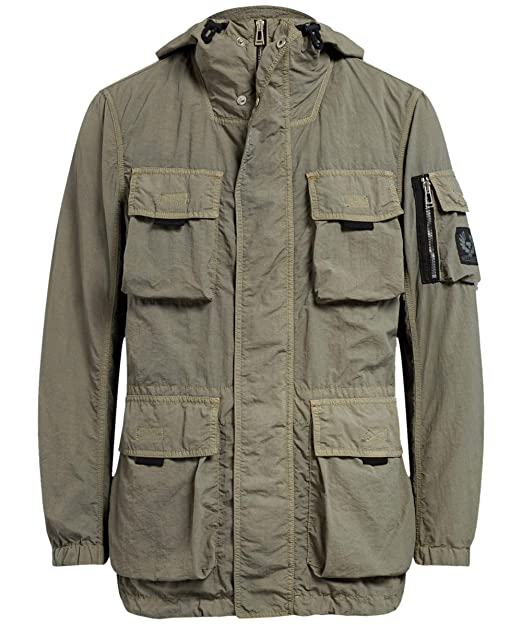 Belstaff Mens Double Layered Pallington Jacket Green at Amazon Mens Clothing store: