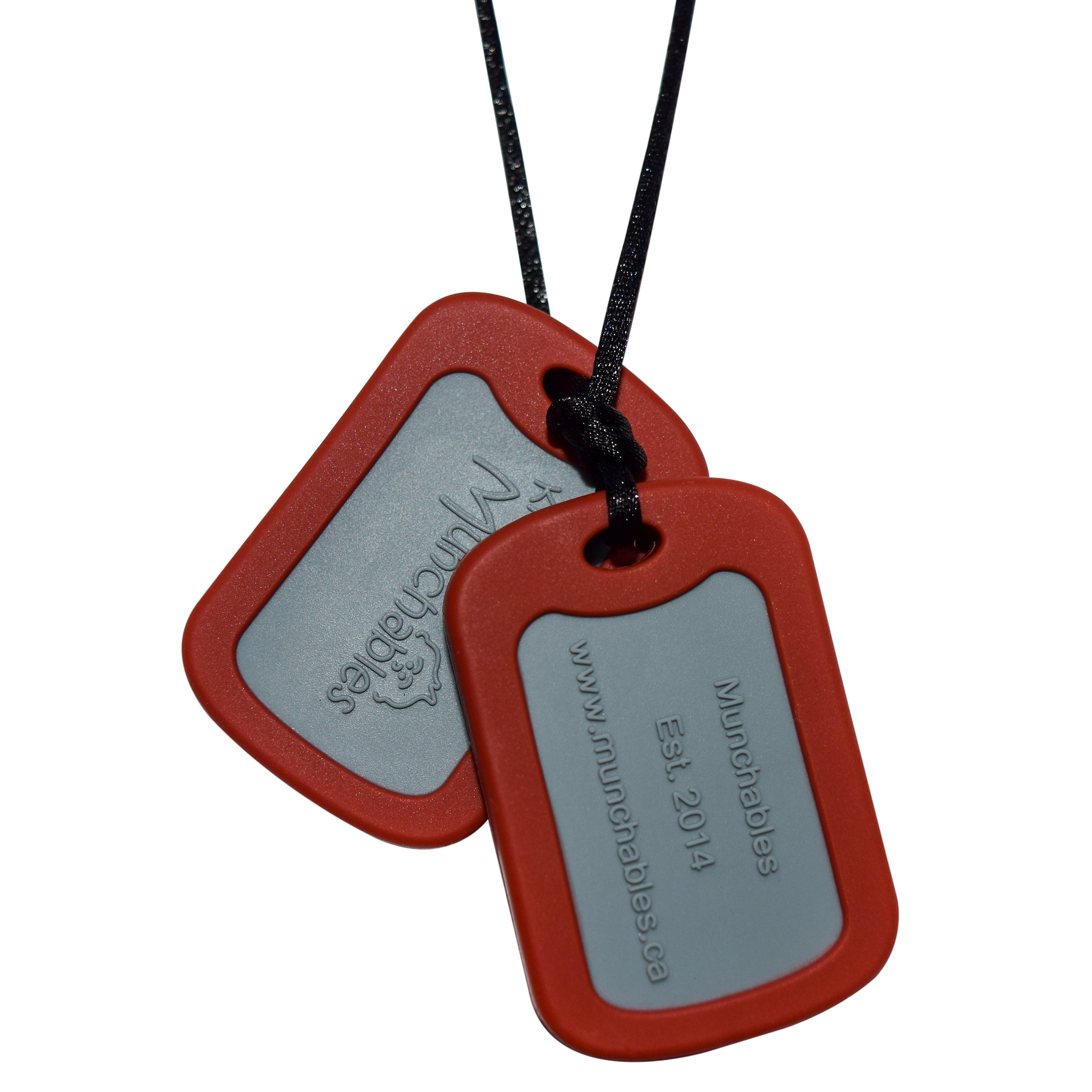Sensory Oral Motor Aide Chewelry Necklace - Chewy Jewelry for Sensory-Focused Kids with Autism Or Special Needs - Calms Kids and Reduces Biting/Chewing/Fidgeting – Military Dog Tags (Dark Red)