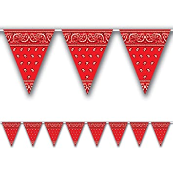 Amazon.com: Bandana Pennant Banner Party Accessory (1 count) (1 ...