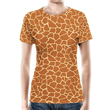71bdfa95 Amazon.com: Queen of Cases Giraffe Print Women Cotton Blend T-Shirt ...