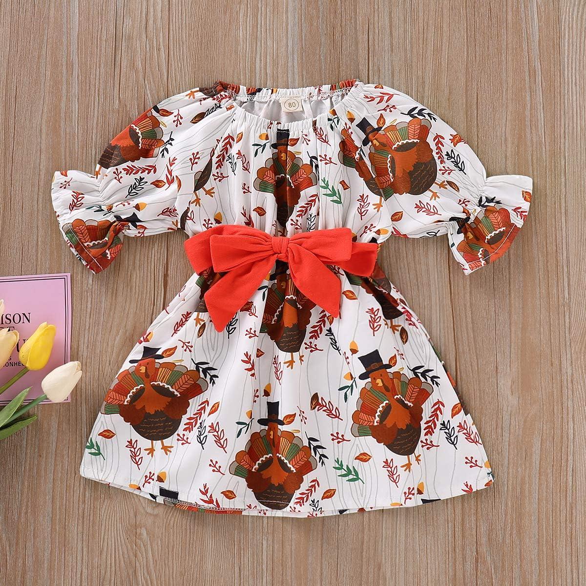 ZOELNIC Baby Girls Christmas Dress Long Sleeve Deer Bowknot Ruffles Tutu Dress