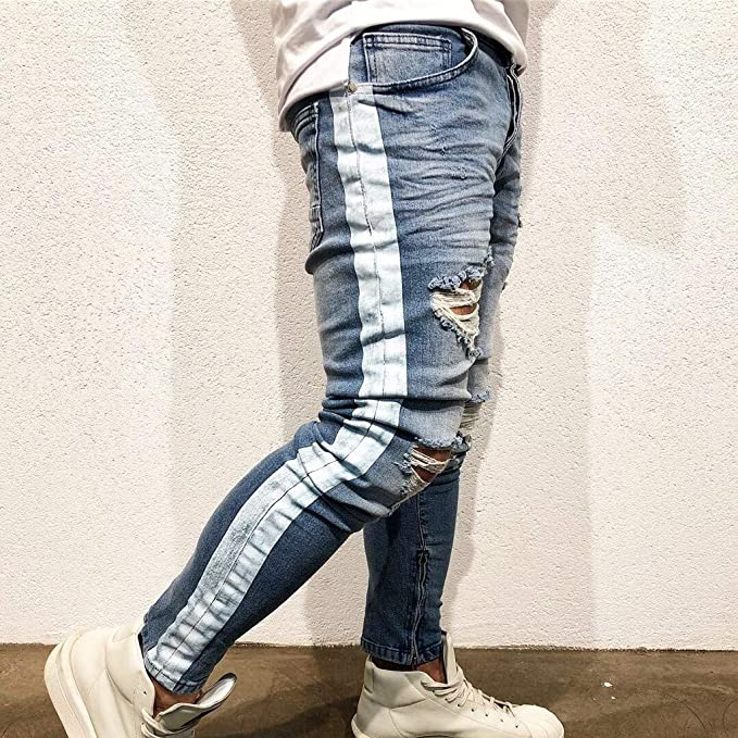 Uxingyio Mens Stretchy Ripped Skinny Biker Jeans Destroyed Taped Slim Fit Denim Pants,Slim fit Jeans for Men