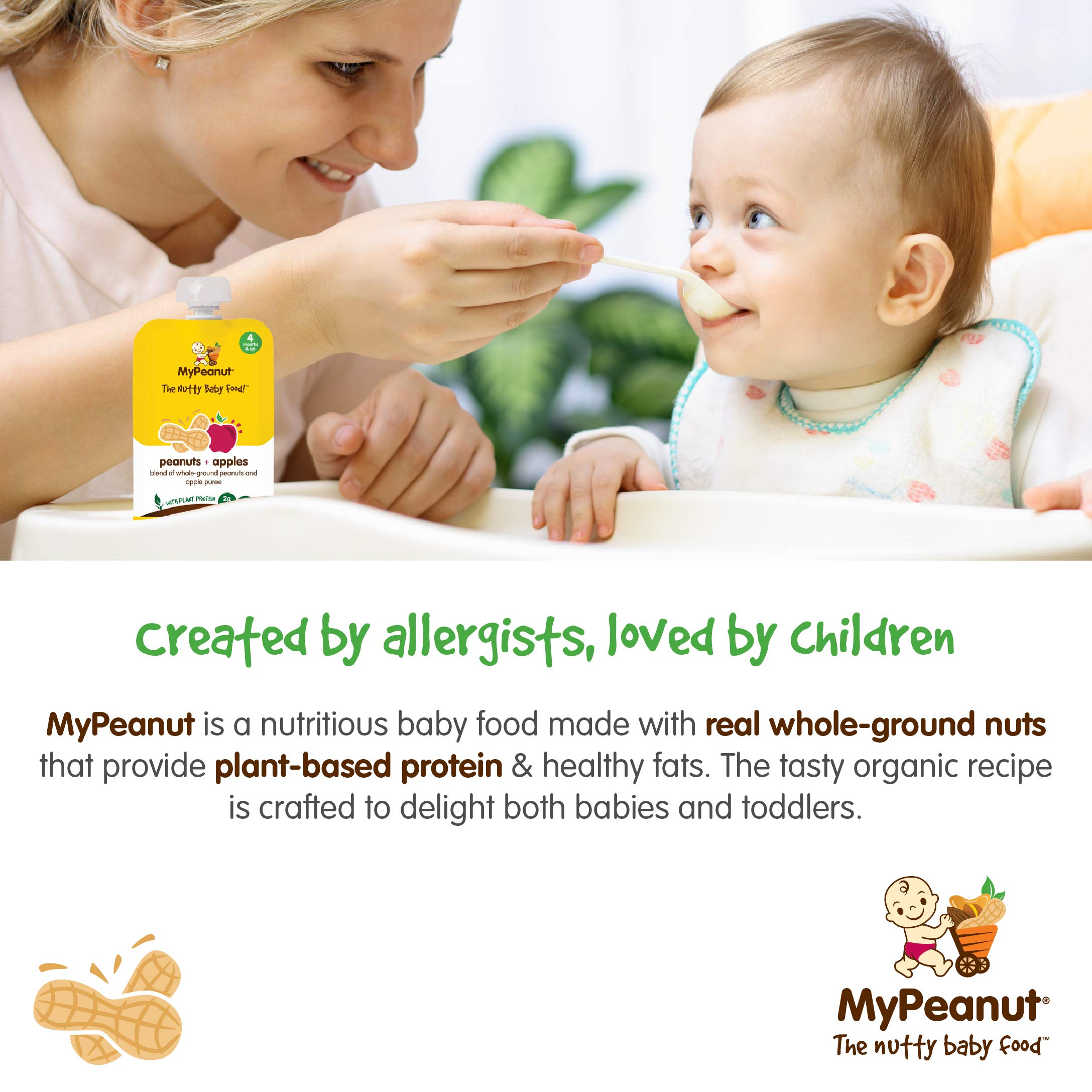 MyPeanut Baby Food, Organic Stage 1 Peanut and Apple Puree for Introducing and Feeding Babies and Toddlers Nuts, Non-GMO, BPA Free 3.5 oz Pouch, 24 Pack by MyPeanut (Image #2)