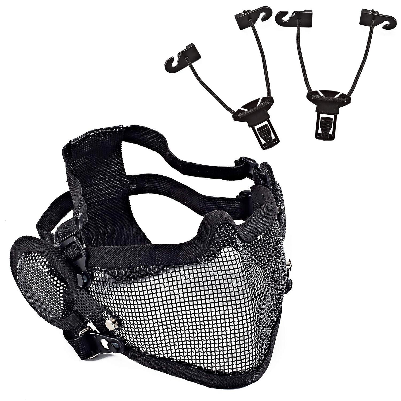 Wwman máscara de Malla para Airsoft con protección para la Oreja, táctica, táctica, de Media Malla de Acero, Dos Maneras de Usar