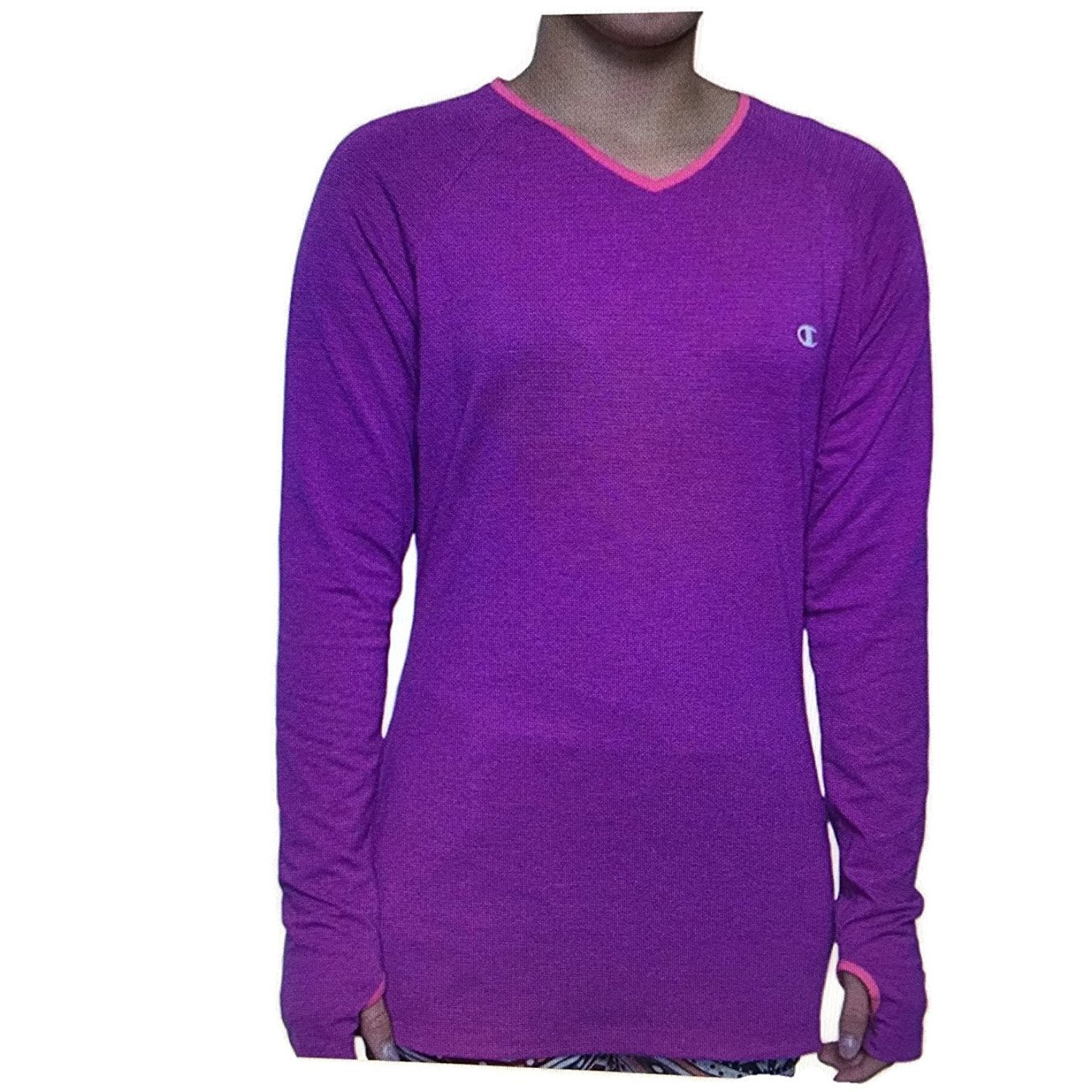 e8ff3f2c Champion Women's Active Yoga Athletic Long Sleeve Shirt Purple XXL at  Amazon Women's Clothing store:
