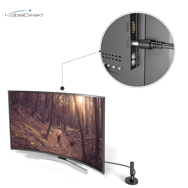 DVB-T2 HD//DVB-T Antenne KabelDirekt geeignet f/ür hohen digitalen Empfang mit stabilem Magnetfu/ß und 3m Kabel f/ür alle DVB-T2//DVB-T Empfangsger/äte /– Schmale Ausf/ührung